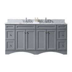 "Talisa 72"" Double Bathroom Vanity in Gray With Marble Top and Square Sink"