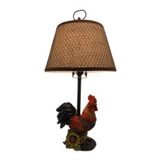 Rustic Farmhouse Rooster Table Lamp with Burlap and Wire Shade