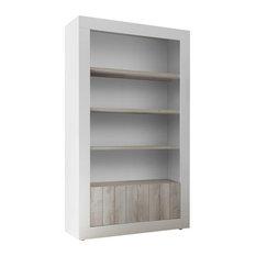 Lipari White Pine and White Bookcase