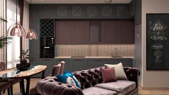 Гостиная в современном стиле с элементами лофт