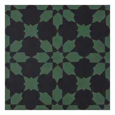 "8""x8"" Ahfir Handmade Cement Tile, Black/Green, Set of 12"