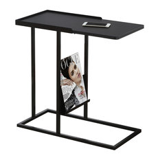Metal Base Accent Table With Magazine Rack