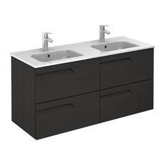 Vitale 48 Inches Wall Mounted Modern Bathroom Vanity 2 Drawer Wenge With Basin