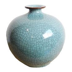 Turquoise Crackle Ceramic Pot