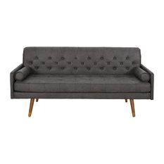 GDF Studio Truda Mid Century Modern Microfiber Sofa With Button Accents, Slate