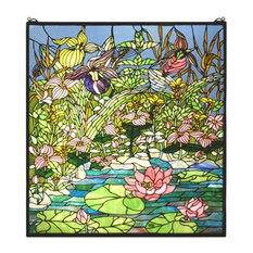 """Meyda Tiffany 27.75""""x30"""" Woodland Lilypond Window"""