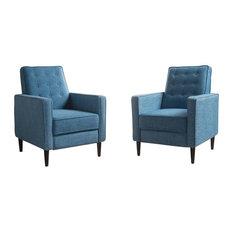 GDFStudio   Marston Mid Century Modern Fabric Recliner, Set Of 2, Muted  Blue