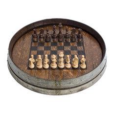 Engraved Wine Barrel Chess Board, Dark Walnut Finish