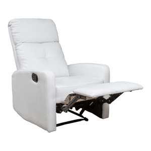 Teyana White Leather Recliner Club Chair By GDFStudio