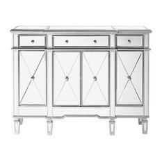 3-Drawer 4 Door Cabinet Hand Rubbed Antique Silver