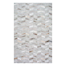 nuLOOM Handmade Leather Cowhide Mitch Area Rug, Silver 10'x14'