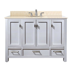 49 in. Contemporary Vanity Set in White Finish