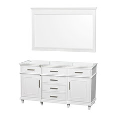 "Single Vanity, White With No Countertop and No Sink and 56"" Mirror, 59"""