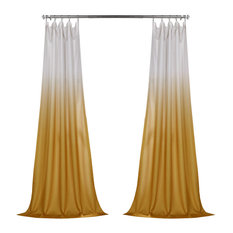 Ombre Faux Linen Semi Sheer Single Panel Curtain, Gold, 50W x 84L