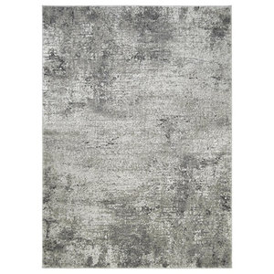 """Modern Accent Rug in Silver with Scratched Wall Design, 6'11""""x4'11"""""""