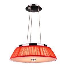 Modern Italian Style 6-Light Chrome Finish LED Pendant Red String Shade