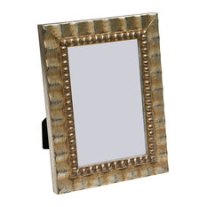 """Arezzo Antique Frame, Silver With Beads, 4""""x6"""""""