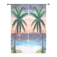 Palm Tree Tropical Sheer Curtains, Sunset Twin Palms