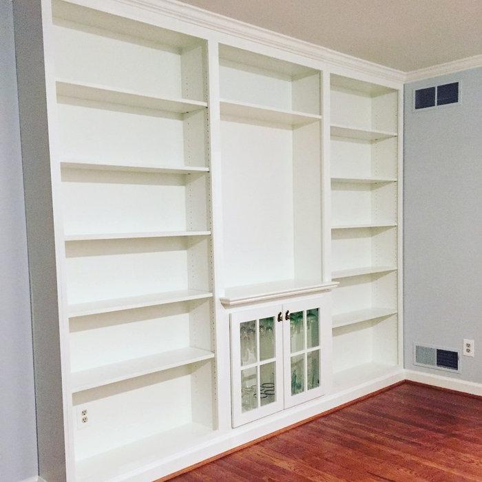 Transitional, Custom Book Shelves