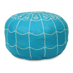 Moroccan Leather Stuffed Pouf, Turquoise