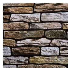"""11.8x11.8"""" 3D Stone Peel and Stick Wall Tile, Brown, Set of 6"""