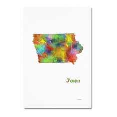 "Marlene Watson 'Iowa State Map-1' Canvas Art, 12""x19"""