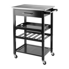 Winsome Anthony Stainless Steel Top Kitchen Cart In Black