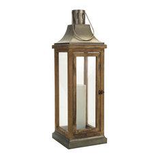 """Lantern 39.5""""H Metal/Wood"""