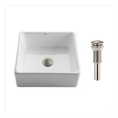 Elavo Ceramic Square Vessel White Sink, PU Drain Satin Nickel