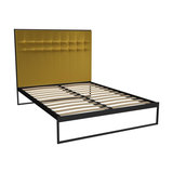 Federico King Bed, Mustard Velvet, Black Base