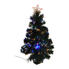 Kingfisher 90 cm LED and Fibre Optic Artificial Green Christmas Tree