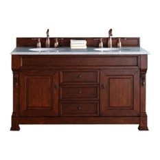 "60"" Warm Cherry Double Vanity, Santa Cecilia Stone Top"