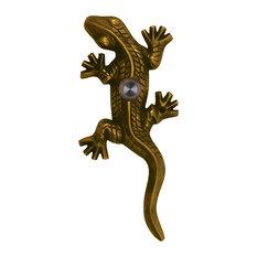 Solid Brass Large Lizard / Gecko Doorbell, Antique Brass
