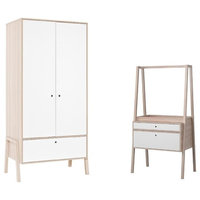2 Piece Set Of Two Door Childrens Wardrobe with Convertible Dresser