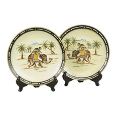 Elephant on Monkey Plates and Plate Stands, Set of 2