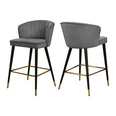 Cassie Velvet Stool, Set of 2, Gray