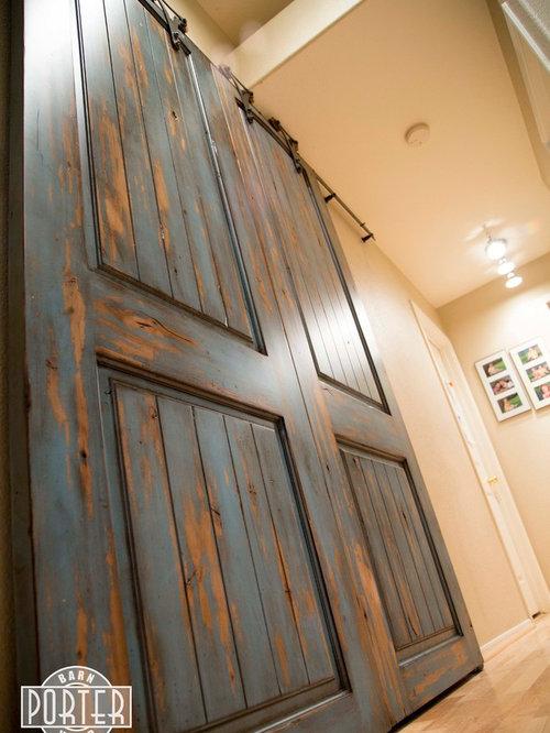 & Sliding Paneled Door - Distressed Ignite Finish