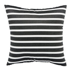 "Jaipur Living - Jaipur Living Shore Black/White Stripe Indoor/Outdoor Throw Pillow 18"" - Outdoor Cushions and Pillows"