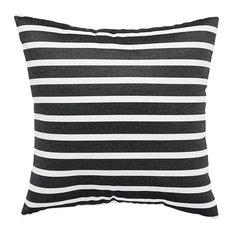 "Jaipur Living Shore Black/White Stripe Indoor/Outdoor Throw Pillow 18"""