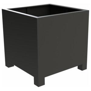 Adezz Aluminum Planter, Black Grey, Florida Low Cube With Feet, 140x140x80cm