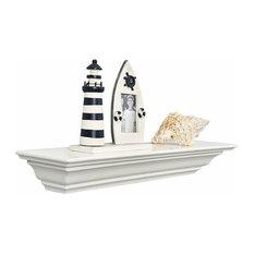"Corona Crown Molding Floating Wall Shelf, 18"", White, 24"""