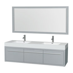 "Axa Double Wall Mounted Bathroom Vanity Gray, 72"", 58"" Mirrors"