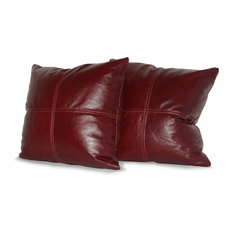 "Square Genuine Leather Accent Throw Pillows, Set of 2, Merlot, 18""x18"""
