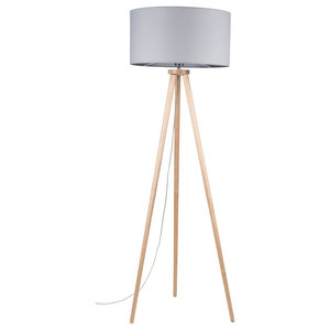 Ennie Birch Tripod Floor Lamp, Grey