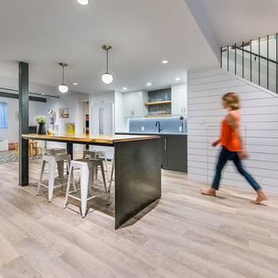 Example of a transitional home design design in Denver