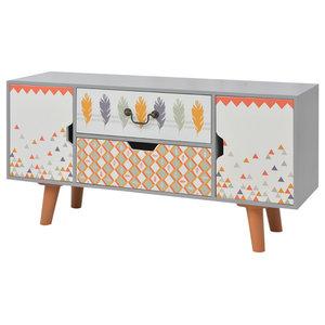 vidaXL Printed Sideboard, 100x30x50 cm, Grey