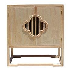 Minimalist Light Raw Wood Shutter Doors Credenza Storage Cabinet