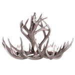 "CDN Antler Designs - Rocky Mountain Mule Deer Chandelier, Brown Antler, Rawhide Shades - Real Antler Rocky Mountain Mule Deer Chandelier (34-36""D x 22-24""H) 6 light sockets, 6 feet of chain, 6 Rawhide Shades.Handmade in North America using top quality naturally shed real antlers."