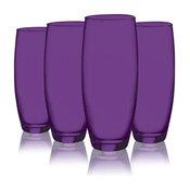 Colored Beverage Flute Glasses, 9 oz. Set of 4, Purple, 9 Oz