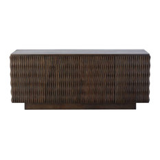 Elegant Carved Wood Ribbed Buffet Cabinet   Media Console Textured Midcentury